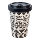 Woodway kelímek z bambusu Aztec White-Black 400 ml