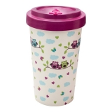 Woodway kelímek z bambusu Owls Purple 500 ml
