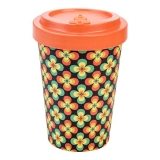 Woodway kelímek z bambusu Retro flowers orange 400 ml