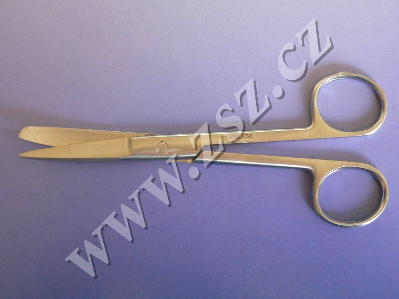 Nůžky chirurgické hrotnato tupé zahnuté 15 cm