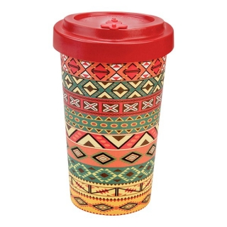 Woodway kelímek z bambusu Aztec Orange Red 500 ml