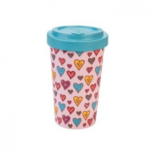 Woodway kelímek z bambusu Candy Hearts 500 ml